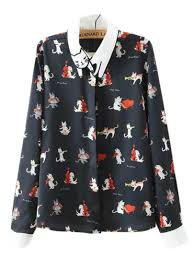 navy blouse navy musician print cat pattern collar shirt withchic