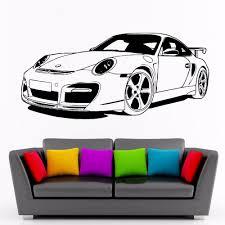 high quality decorating wall stencils buy cheap for porsche sports car club vinyl wall decal art decor sticker living room door stencil