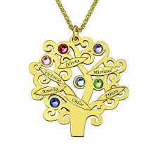 Necklace With Name And Birthstone Family Tree Necklace Gold Color Mother U0027s Necklace With Birthstone