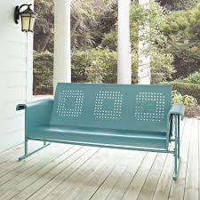 Retro Metal Patio Furniture - furniture classic green painted metal porch glider awesome
