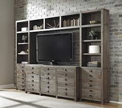 Wall Unit Furniture Rustic Gray Brown Pine Entertainment Wall Unit By Signature Design