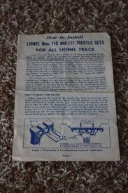 lionel postwar 110 and 111 trestle set instruction sheet ebay
