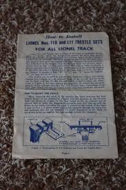 lionel postwar 110 and 111 trestle set instruction sheet ebay