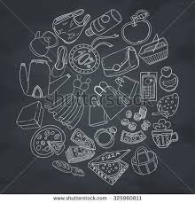 set objects shopping hand drawn ornaments stock vector 258601685