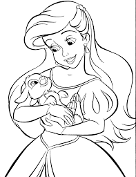 Disney Princess Coloring Pages Ariel In A Dress Many Interesting Ariel Color Page