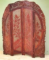 arched elephants carved room divider teak wood screen 72