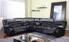 Recliner Corner Sofas New Style Black Leather Recliner Corner Sofa Set With Wedge View