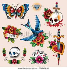 set color vintage tattoos your design stock vector 224746090