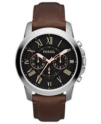 fossil steel leather bracelet images Fossil men 39 s chronograph grant brown leather strap watch 44mm tif