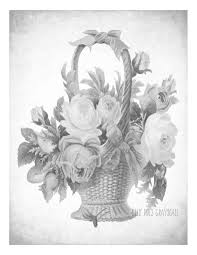 flower basket grayscale coloring page coloring flowers