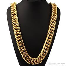 hip hop necklace images Online cheap brand hiphop necklace long choker yellow gold plated jpg
