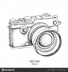 sketch of a vintage camera vector illustration u2014 stock vector