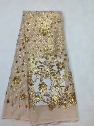 jl sequined lace fabric champagne gold allovered sequin