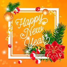 Decoration Happy New Year Happy New Year Lettering With Decorations Vector Free Download