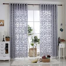 Sheer Gray Curtains Buy R Lang Solid Grommet Top Modern Embroidered Sheer Curtain 1
