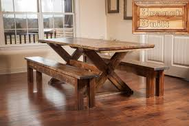 Wooden Table With Bench Natural Farmhouse Trestle Table U2014 Farmhouse Design And Furniture