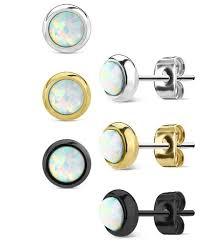 surgical steel earrings bezel set opal 316l surgical steel earrings jsw jewelry