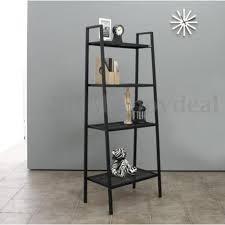 4 tier gray ladder shelf book stand display shelves bookcase metal