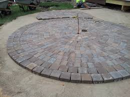 mid way through the circular patio construction using anchor