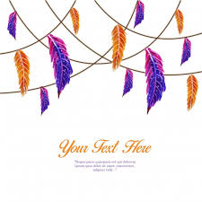 purple feather watercolor orange and purple feather string template
