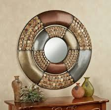 winsome circle mirror wall decor design featuring wooden console