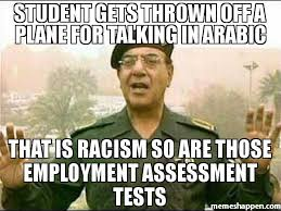 Racism Meme - student gets thrown off a plane for talking in arabic that is