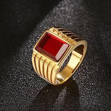 men big rings images New big red stone rings for men cool gold color large rings jpg