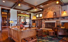 living room home ranch style interior with wooden furniture and