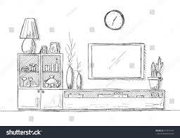 linear sketch interior bookcase dresser tv stock vector 615914147