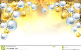 gold and silver baubles background stock vector image
