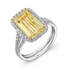 fancy yellow diamond engagement rings emerald cut yellow diamond engagement ring diamond
