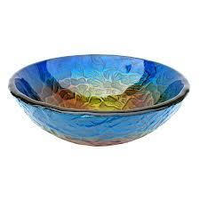 Undermount Glass Bathroom Sinks Shop Eden Bath Blue Glass Vessel Round Bathroom Sink At Lowes Com