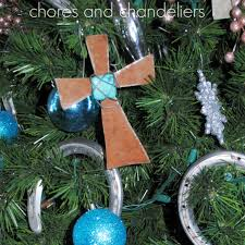 chores and chandeliers rusty tin and turquoise cross ornament