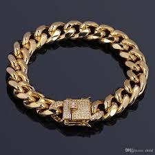 cuban chain bracelet images 2018 hip hop 18k gold plated cuban chain bracelet with diamond jpg