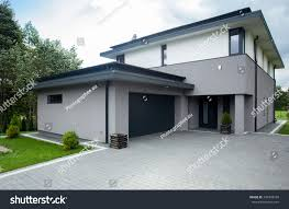 contemporary driveway parking big modern house stock photo