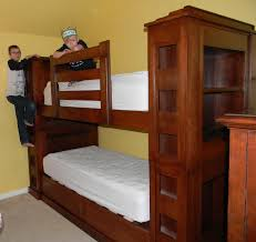 yellow birch bunkbeds with incorporated bookshelves leaning tree