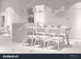 white eatinkitchen dining table 3d rendering stock illustration
