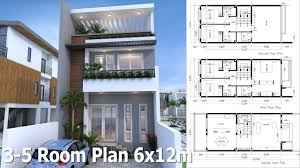 home plan sketchup 3 story home plan 6x12m