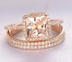 Trio Wedding Ring Sets by Limited Time Sale 2 Carat Morganite And Diamond Trio Wedding