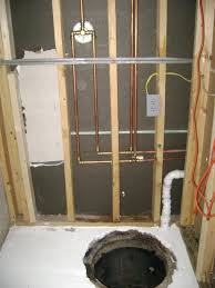shower head attachment basement bathroom plumbing valve and copper