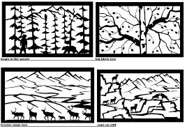 horizontal panels in the woods big birch tree