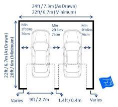 home design dimensions garage dimensions with 2 doors including garage door