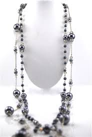 black pearl chain necklace images Silver chain black pearl crystal bead long necklace jpg