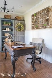 the evolution of a farmhouse style home office before and after