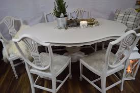 shabby chic dining table and 6 chairs 2548