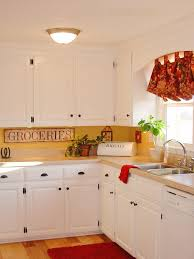 white country kitchen red accents