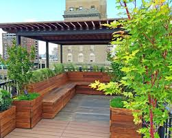 Garden Bench With Planters Nyc Custom Roof Deck Ipe U0026 Metal Pergola Ipe Bench Planters