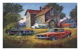 backyard mustangs classic ford scenes artist dale klee wyoming mn