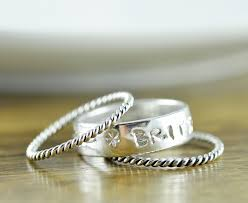 personalized stackable rings stackable mothers ring sterling silver stacking rings