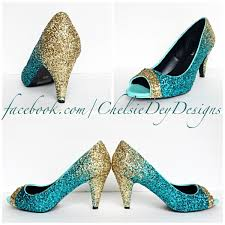 wedding shoes peep toe glitter high heels teal turquoise aqua blue gold ombre peep